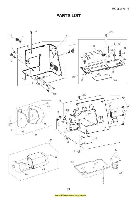 new home sewing machine parts manual