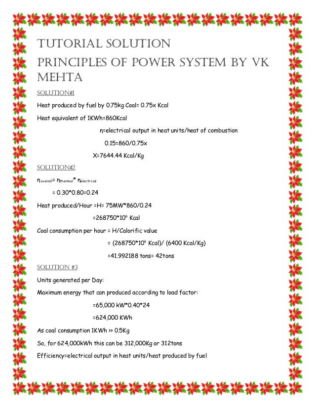 principles of power system by vk mehta solution manual